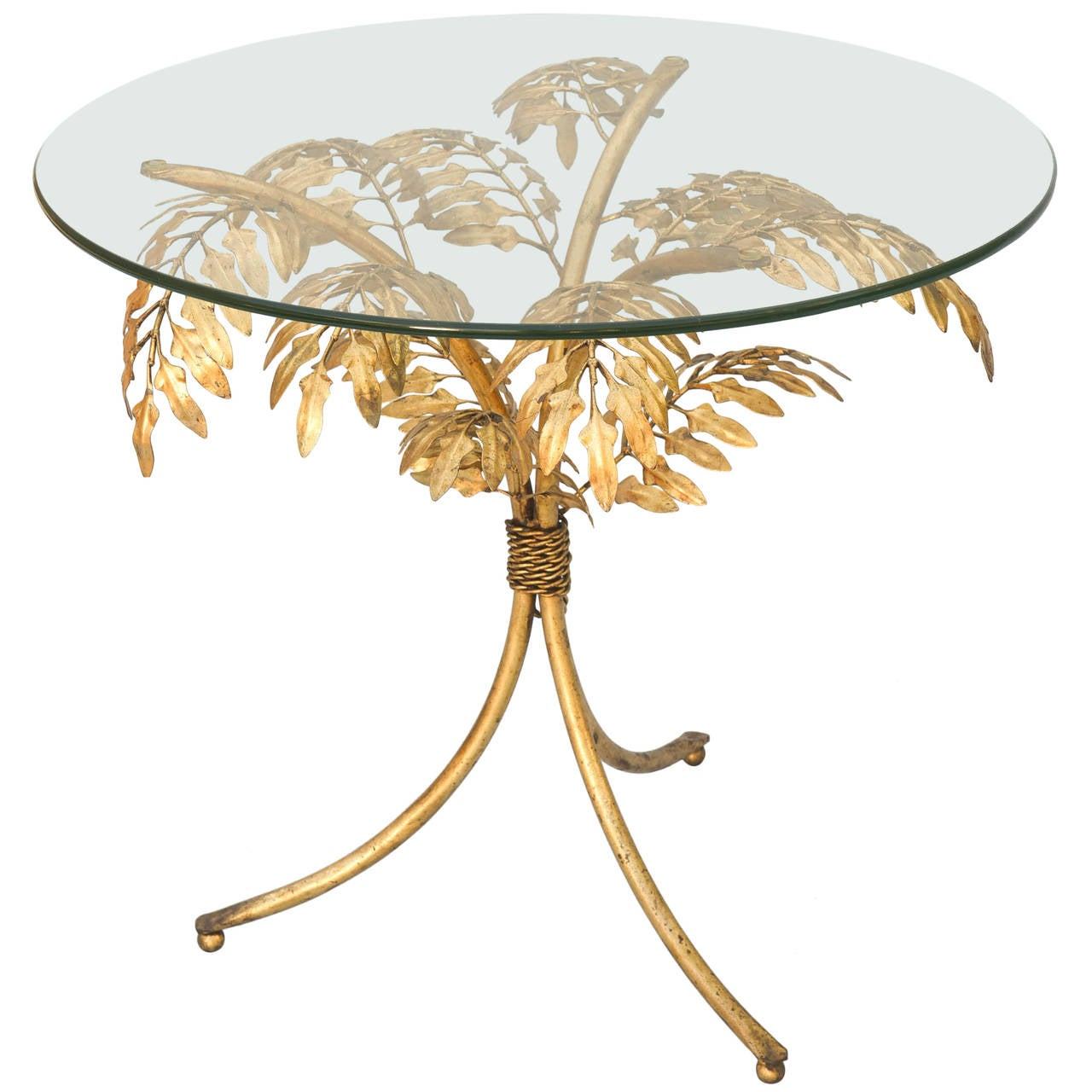 Gilded Iron Palm Tree Accent Table For
