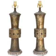 Pair of Lamped 19th Century Chinese Bronze Vases