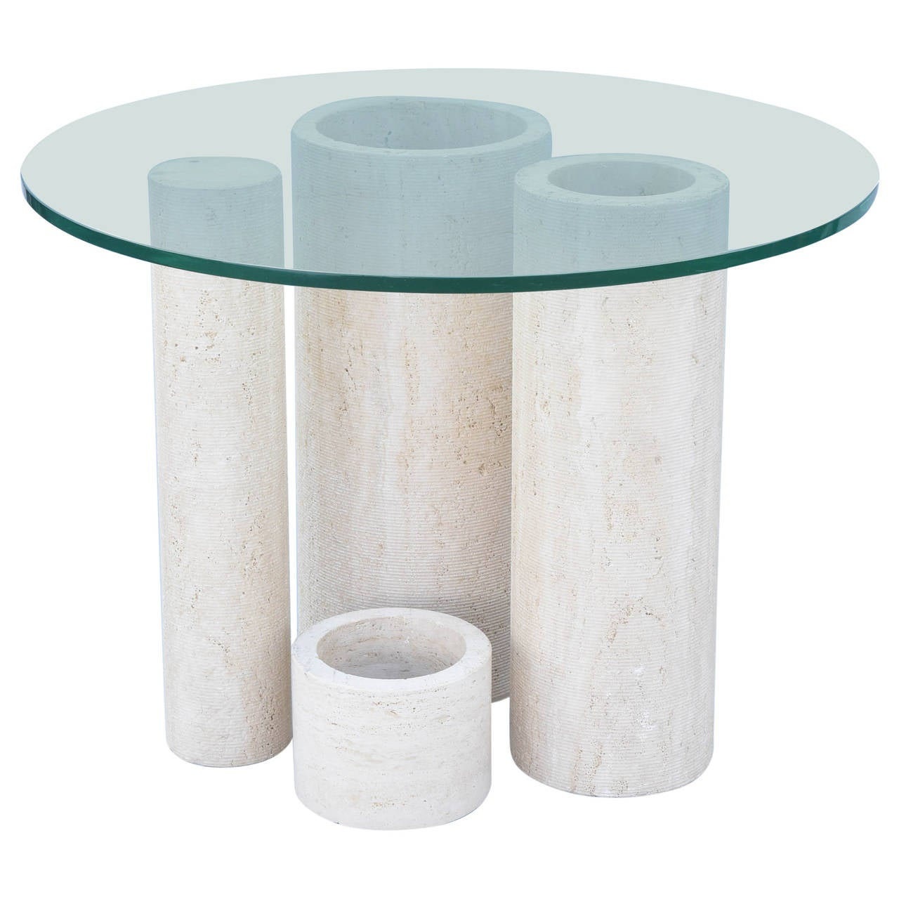 Graduated Travertine Cylindrical Table Base with Glass Top  : 2874313l from www.1stdibs.com size 1280 x 1280 jpeg 114kB