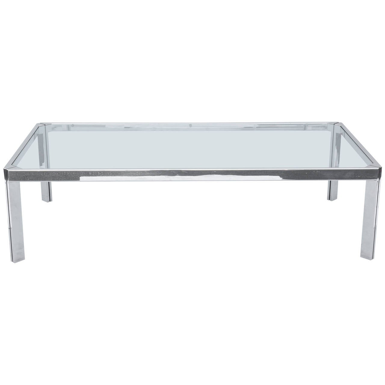 Cocktail Table With Linear Frame Of Chromed Heavy Gauge Iron For Sale At 1stdibs