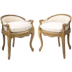 Adorable Pair of Painted French 19th Century Vanity Chairs