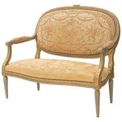 Louis XVI Needlework Upholstered 19th Century Settee