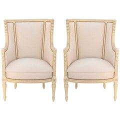 Fine Pair of Painted Bergeres in French Linen, 19th Century