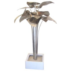 Mid-Century Nickel Plated Metal Palm Tree