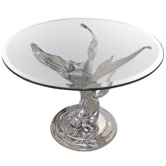 French Art Deco Nickeled Bronze Table