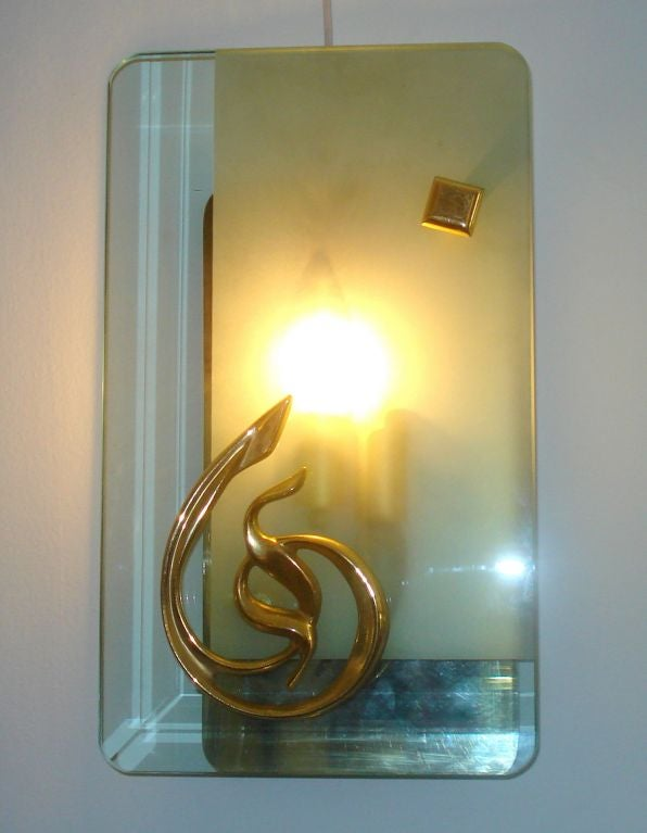 A Pair of Elegant Italian, Frosted and Clear Murano Glass Sconces with Bronze Base and Accents. Extremely Chic!