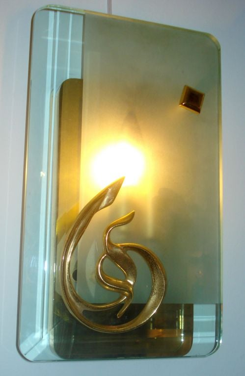 Mid-20th Century Pair of Mid-Century Murano Glass and Bronze Sconces For Sale