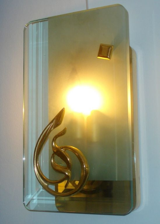 Pair of Mid-Century Murano Glass and Bronze Sconces For Sale 3