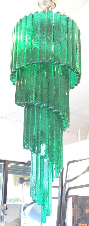 Mid-Century Mazzega Custom Emerald Green Chandelier 2