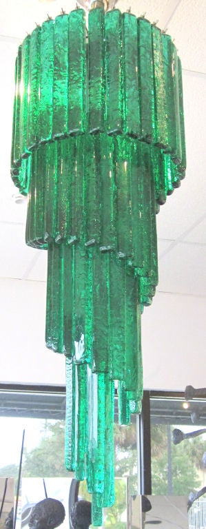 Mid-Century Mazzega Custom Emerald Green Chandelier 3