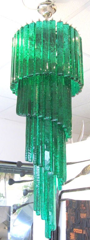 Mid-Century Mazzega Custom Emerald Green Chandelier 4