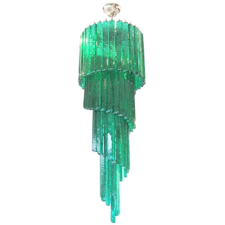 Mid-Century Mazzega Custom Emerald Green Chandelier