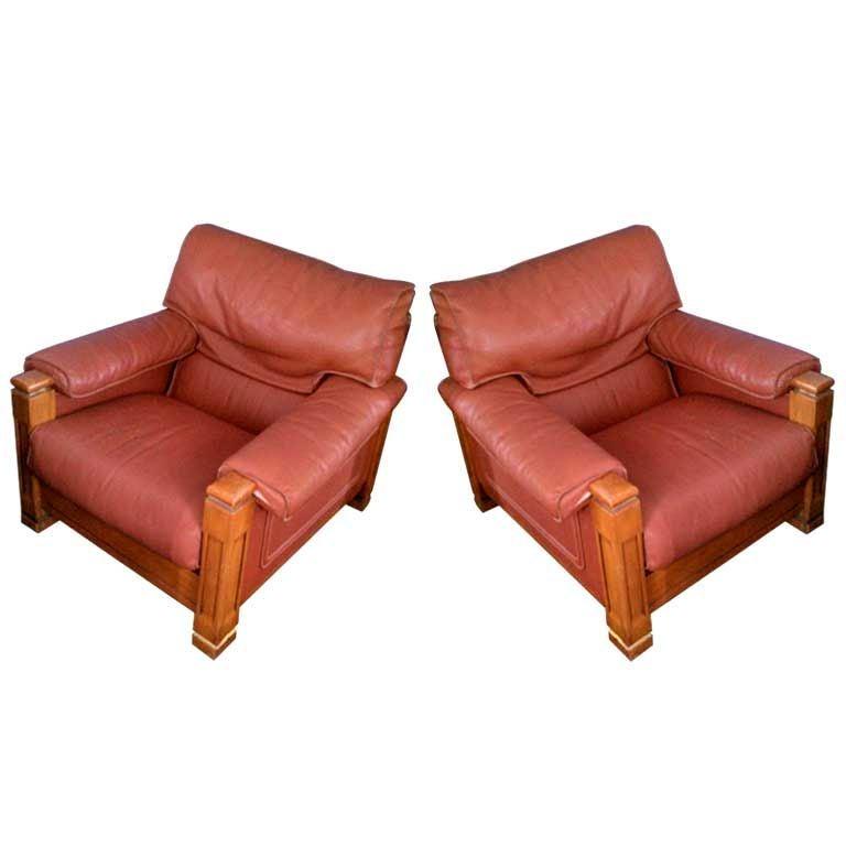 Pair of Phenomenal Mid-Century Club Chairs