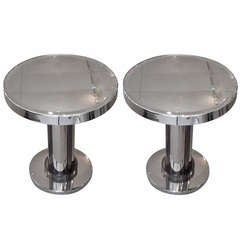 Pair of French Art Deco Jacques Adnet Style Side Tables