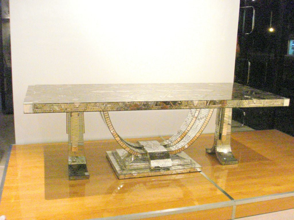 French Art Deco Mosaic Mirror Table In Good Condition For Sale In Miami, FL