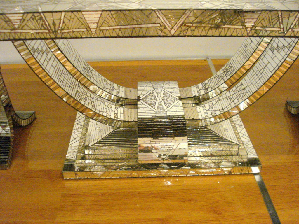 French Art Deco Mosaic Mirror Table For Sale 2