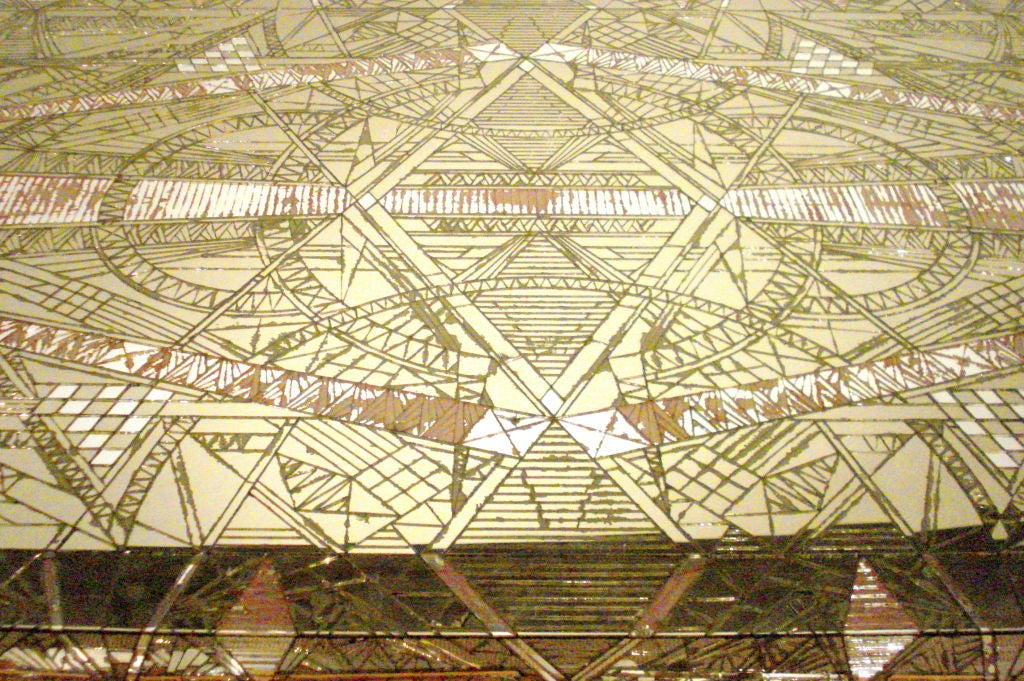 French Art Deco Mosaic Mirror Table For Sale 3