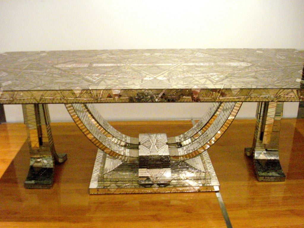 French Art Deco Mosaic Mirror Table For Sale 1