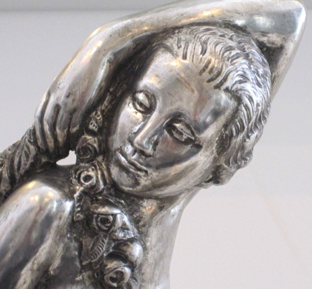 Silver Leaf French Art Deco Sculpture signed B. Rezl For Sale
