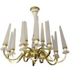 French 1940's Tulip Glass and Brass Chandelier
