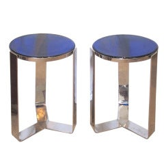 Pair of Stunning Blue Glass Art Deco Side Tables