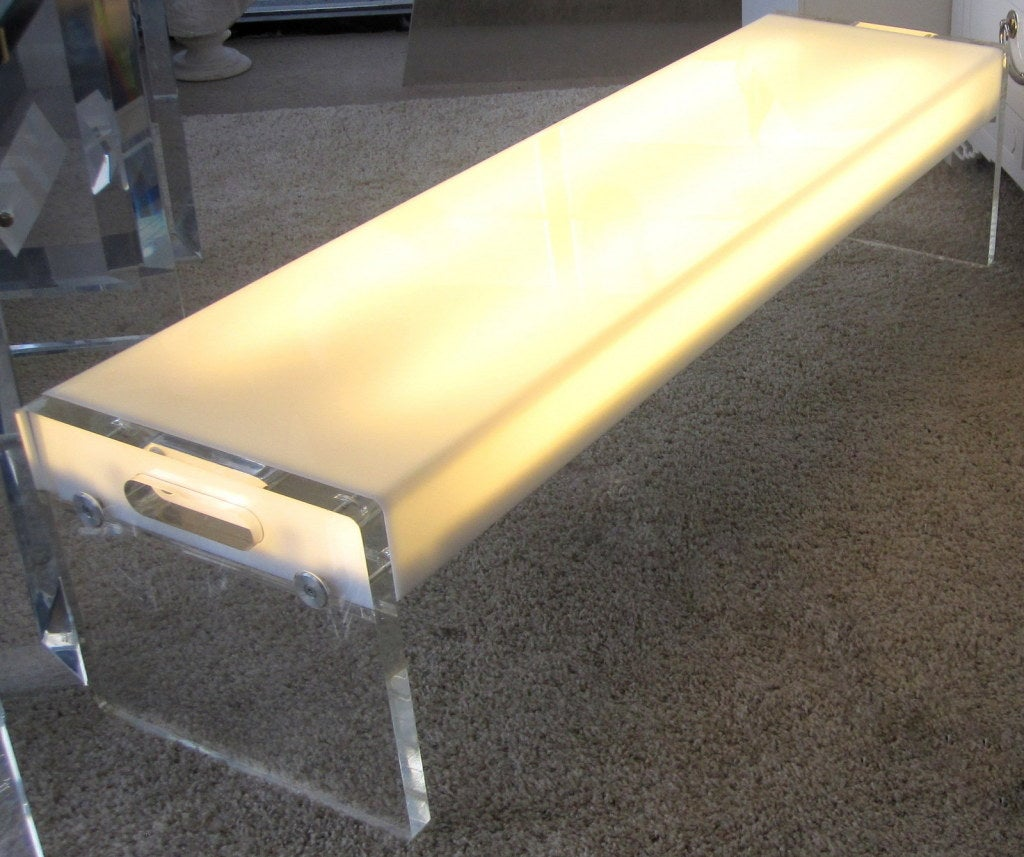 Fiberglass Console Table ~ Illuminating lucite and white fiberglass bench console at