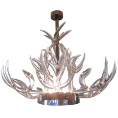 Stunning Lucite & Stainless Steel Chandelier