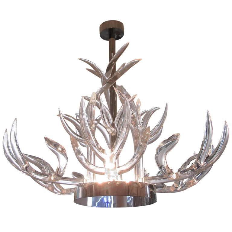 Stunning lucite and stainless steel chandelier for sale at 1stdibs stunning lucite stainless steel chandelier for sale aloadofball Images