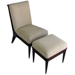 Maurice Jallot French Art Deco Chair and Ottoman Set