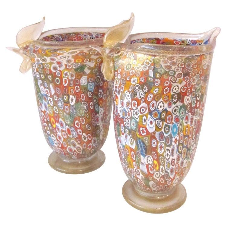 Ornate Gambaro And Poggi Murano Glass Vases At 1stdibs