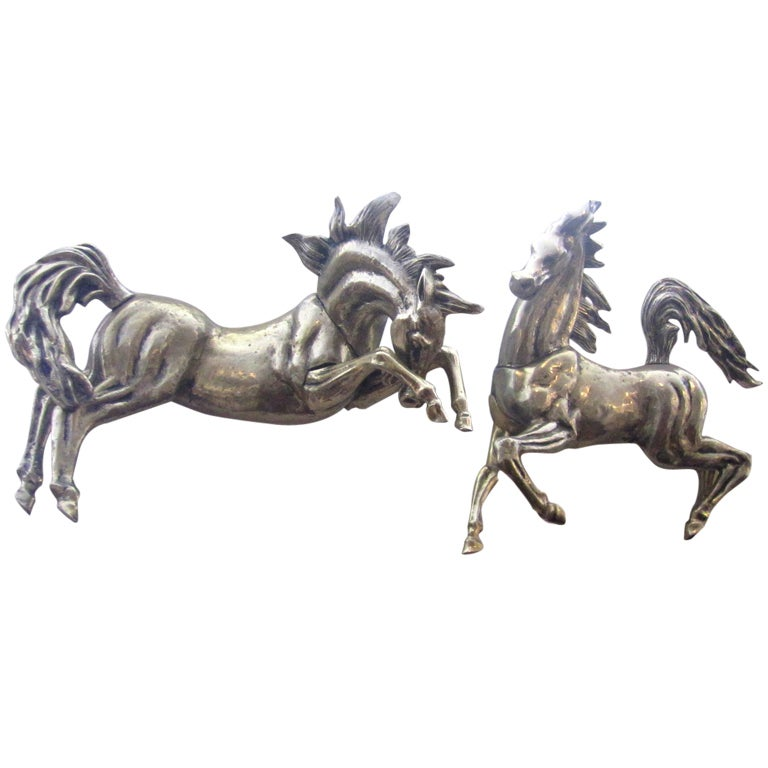 Pair of Mid-Century Metal Wall Sculptures