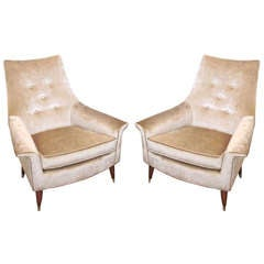 Pair of Mid-Century Winged Armchairs