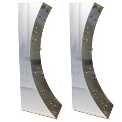 Pair of Brushed  and Polished Stainless Steel Sculptural Lamps