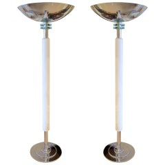 Pair of French Art Deco Parchment Floor Lamps