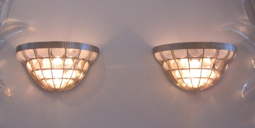 Hammered Pair of French Rock Crystal Sconces For Sale