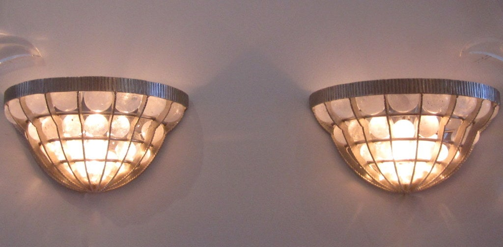 Pair of French Rock Crystal Sconces In Good Condition For Sale In Miami, FL
