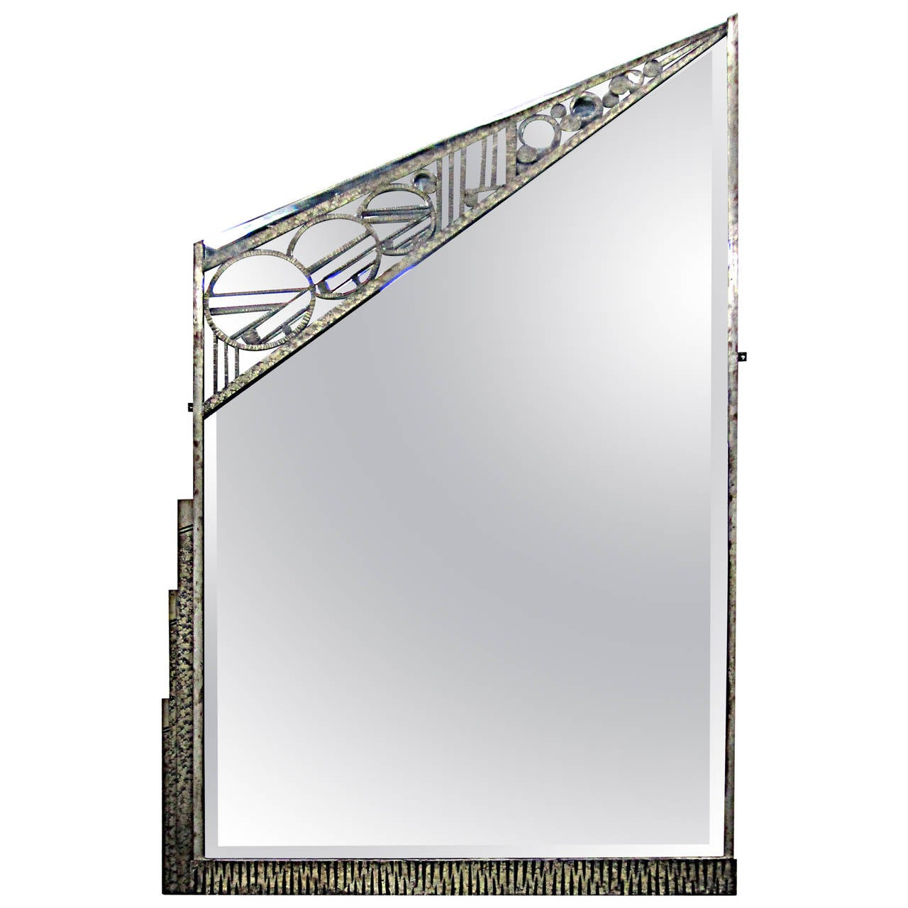 Geometric French Art Deco Wrought-Iron Mirror by Charles Piguet