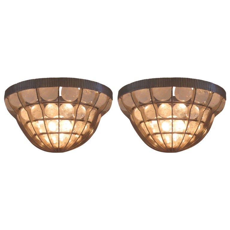 Pair of French Rock Crystal Sconces For Sale