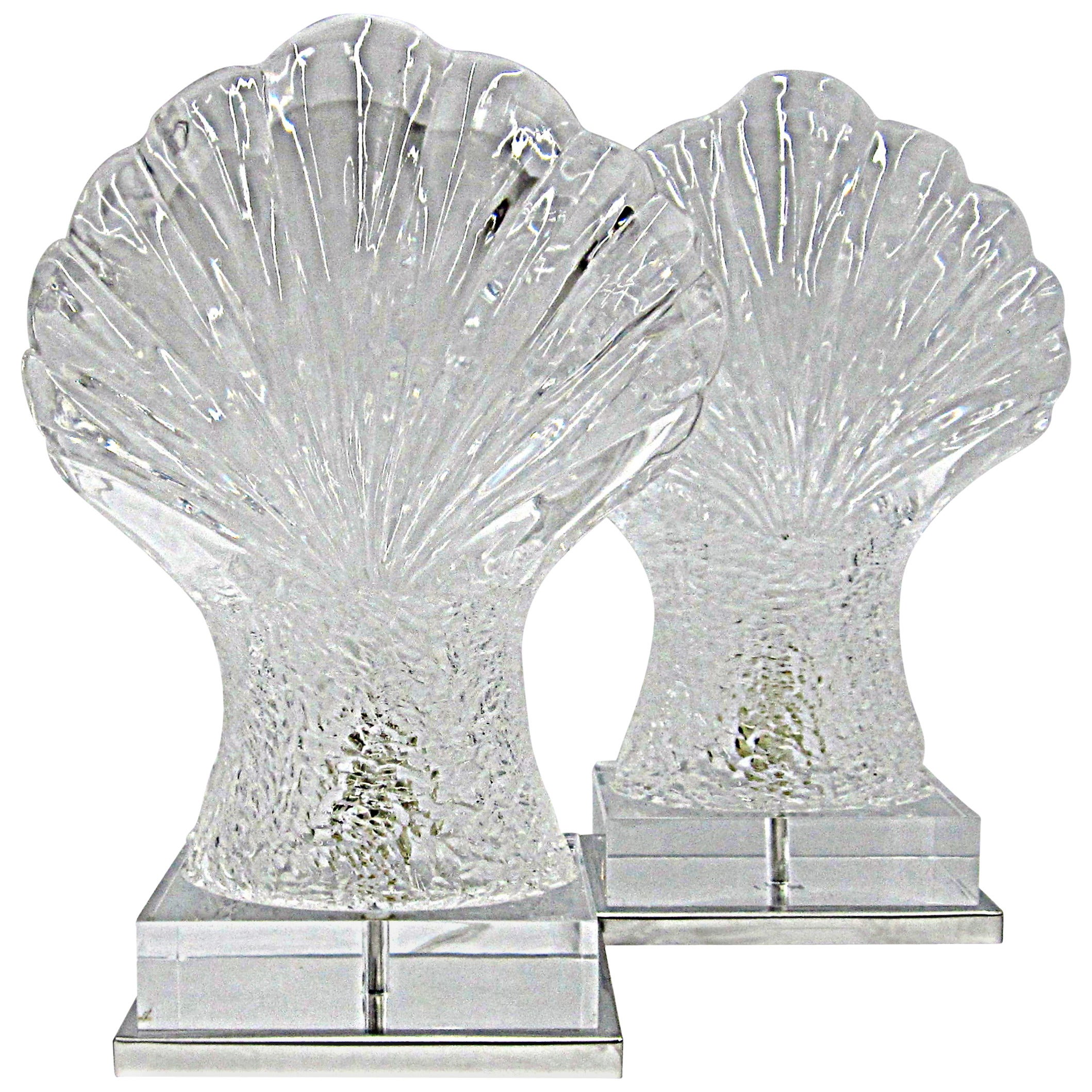 Pair of Mid-Century Sculpted Lucite Shell Lamps