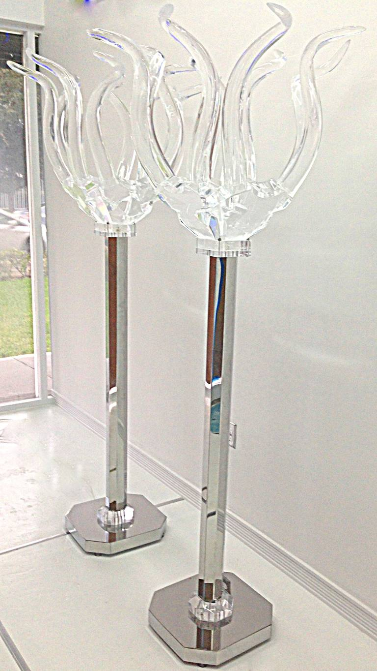 this pair of modern stainless steel floor lamps is no longer available. Black Bedroom Furniture Sets. Home Design Ideas