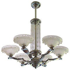 French Art Deco Petitot Fountain Chandelier