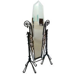 Edgar Brandt Style French Art Deco Forged Iron Standing Mirror