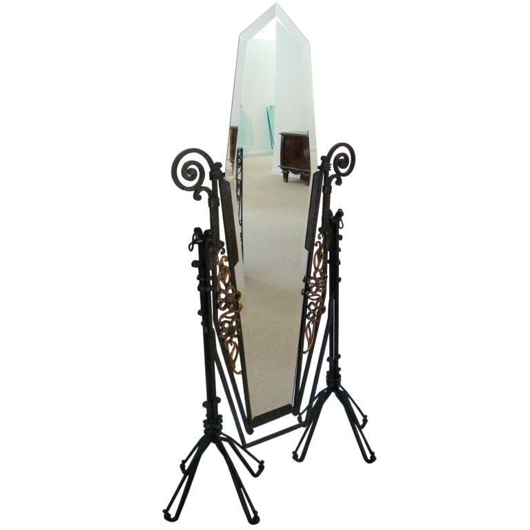Edgar Brandt Style French Art Deco Forged Iron Standing -5778