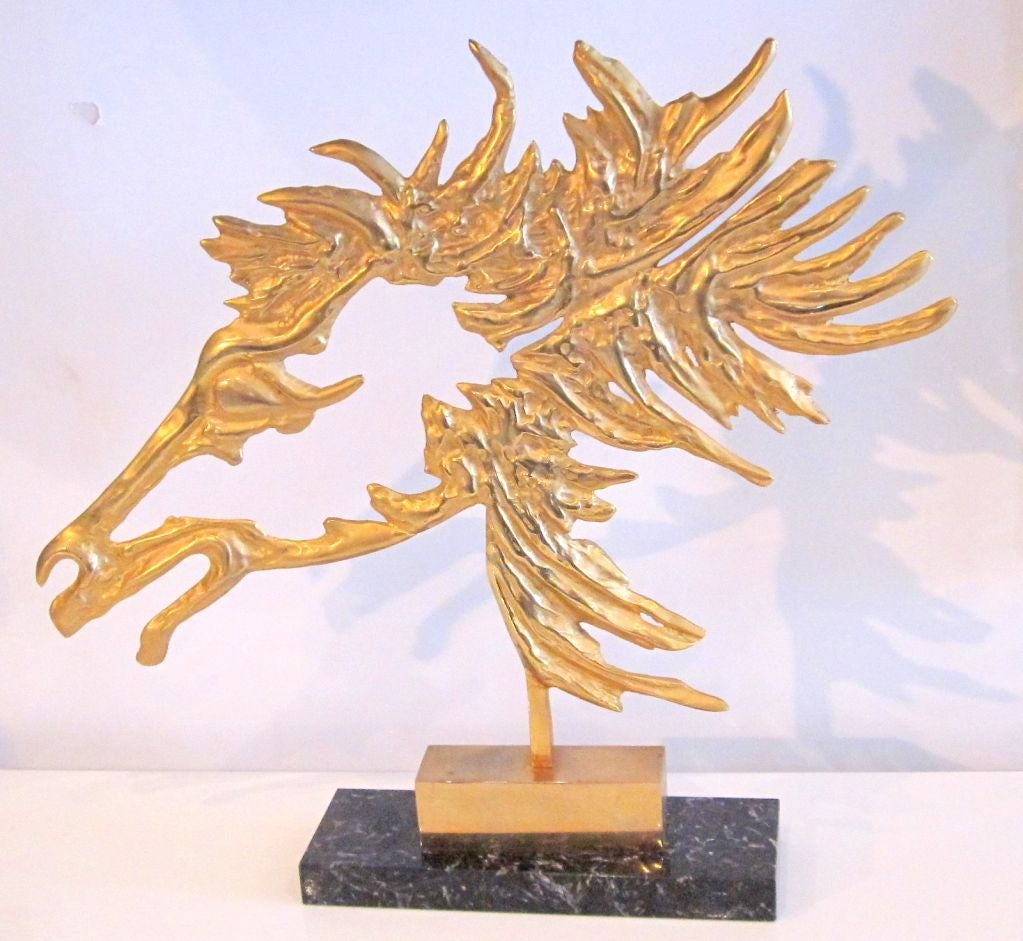 Exquisite French Modernist Bronze Horse's Profile, with Gold Patine, on a Marble Base.