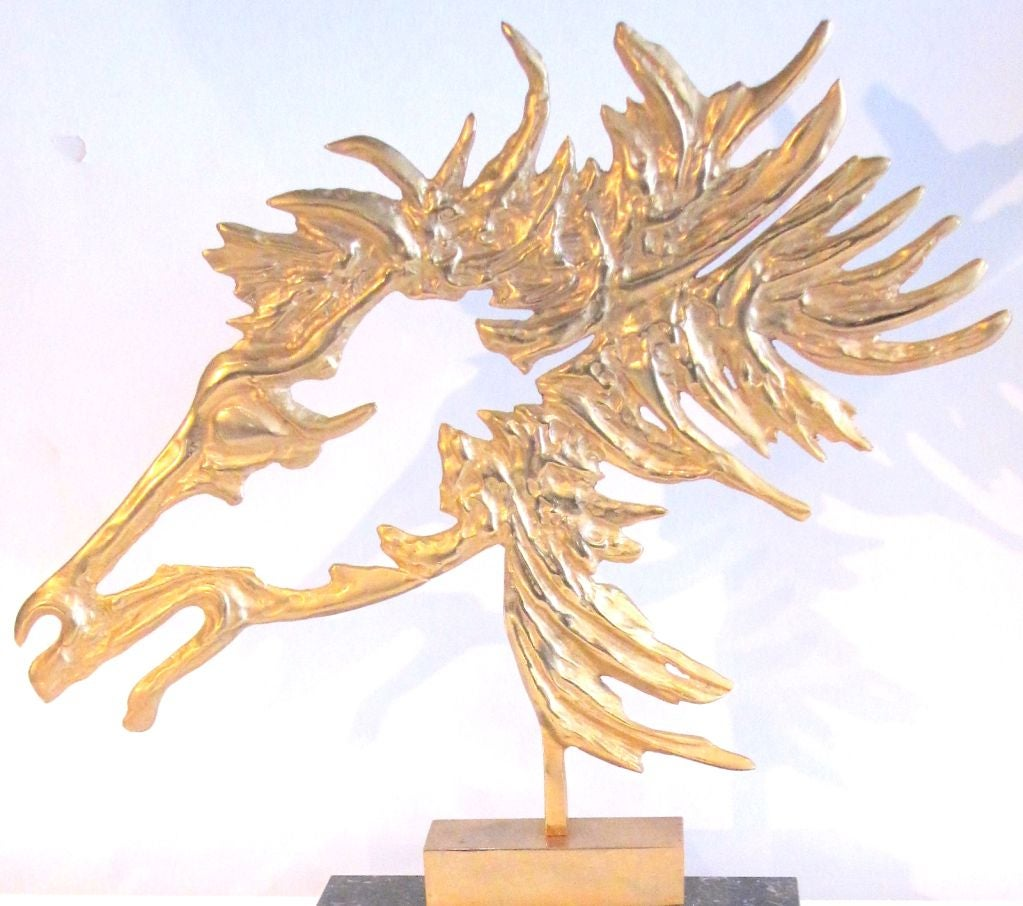 French Modernist Bronze Horse on Marble Base circa 1950's For Sale 1