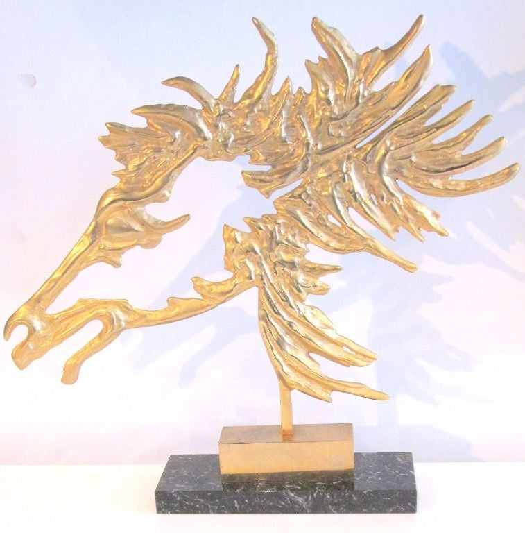 French Modernist Bronze Horse on Marble Base circa 1950's For Sale 2