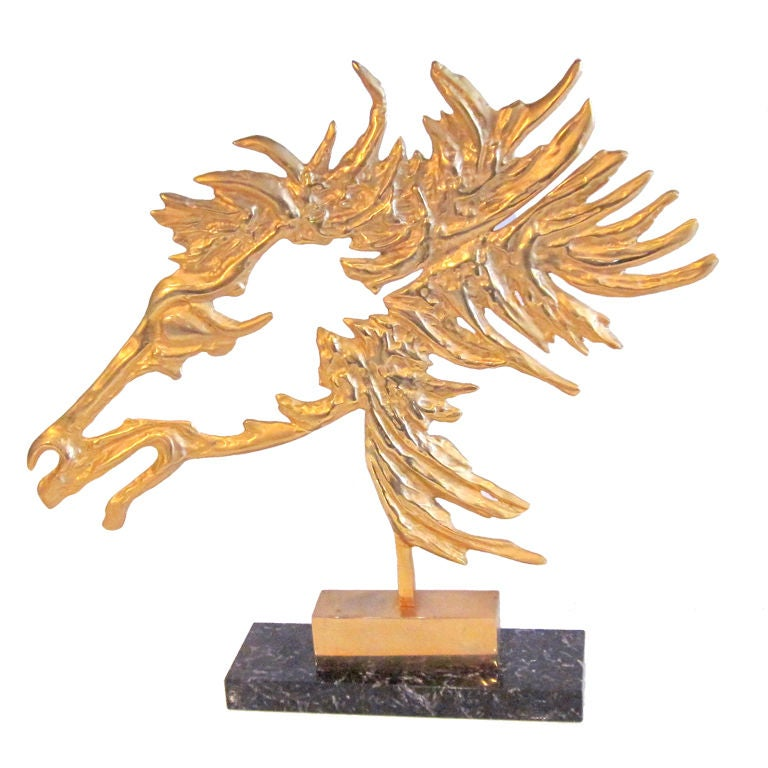 French Modernist Bronze Horse on Marble Base circa 1950's