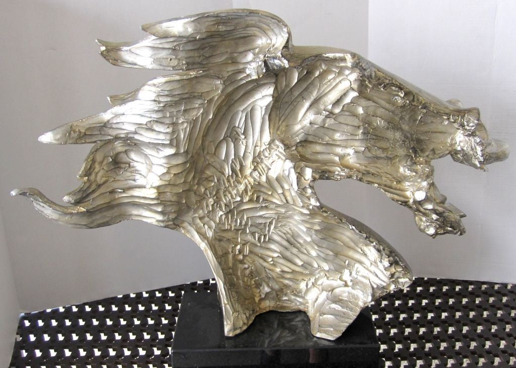 Mid Century Silver Leaf Horse Head Sculpture For Sale At