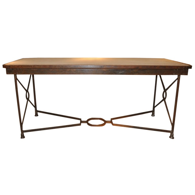 A French Fer Forge Table With Inset Stone Top at 1stdibs