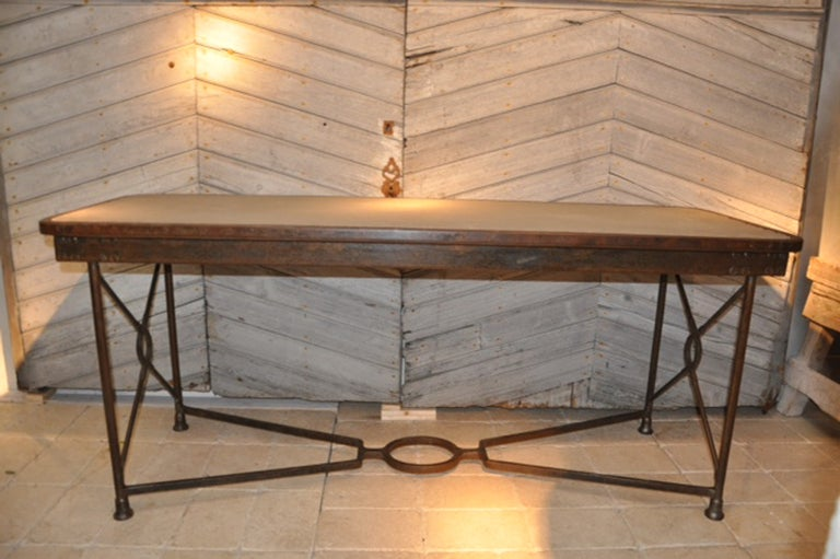 A french fer forge table with inset stone top at 1stdibs for Table demi lune fer forge